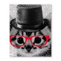 Cat in Red Glasses 8-Inch x 10-Inch Canvas Wall Art