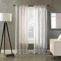 Avery Print Sheer Rod Pocket 84-Inch Window Curtain Panel in Grey