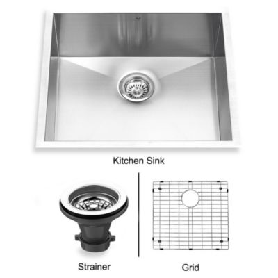 VIGO 23 Inch Single Bowl Stainless Steel Undermount Kitchen Sink With Grid  And Strainer