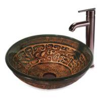 Vigo Copper Mosaic Vessel Sink With Faucet