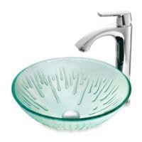 VIGO Icicles Glass Vessel Sink with Chrome Faucet