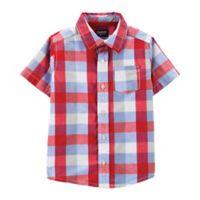 OshKosh B'gosh® Size 2T Plaid Button-Front Shirt in Red/White/Blue