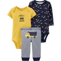 carter's® Size 3M 3-Piece Construction Bodysuits and Pant Set in Navy/Yellow
