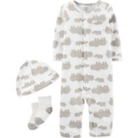 carter's® Newborn 3-Piece Hippo Converter Gown, Hat, and Socks Set in Brown/Ivory
