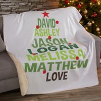 Christmas Family Tree 50-Inch x 60-Inch Personalized Blanket