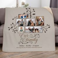 Photo Family Tree 50-Inch x 60-Inch Personalized Sherpa Blanket