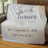 Mr. & Mrs. Laurel 50-Inch x 60-Inch Personalized Sherpa Blanket