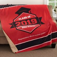 Class Of 50-Inch x 60-Inch Personalized Graduation Sherpa Blanket