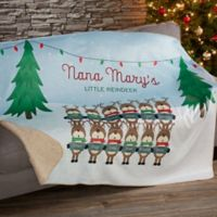 Reindeer Family Character 50-Inch x 60-Inch Personalized Sherpa Blanket