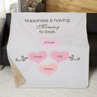 What Is Happiness? 50-Inch x 60-Inch Personalized Sherpa Blanket