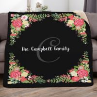 Posh Floral 50-Inch x 60-Inch Personalized Sherpa Blanket