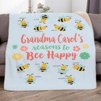 Bee Happy 50-Inch x 60-Inch Personalized Sherpa Blanket