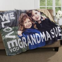 Loving Her 50-Inch x 60-Inch Personalized Photo Sherpa Blanket