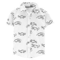 carter's® Size 6M Alligator Button-Front Shirt in Black/White