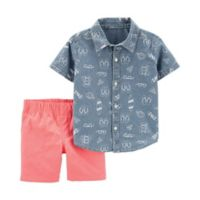 carter's® Size 24M 2-Piece Button-Front Shirt and Short Set in Chambray/Coral