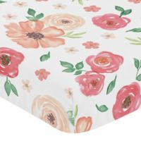 Sweet Jojo Designs® Watercolor Floral Fitted Crib Sheet in Coral/White