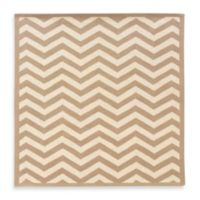 Linon Home Silhouette Collection 2-Foot x 3-Foot Chevron Rug in Beige/White