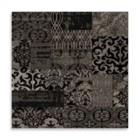 Linon Home Jewel Damask 2-Foot x 3-Foot Rug in Black