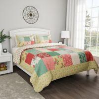 Nottingham Home Floral Reversible Full/Queen Comforter Set in Pink/Green