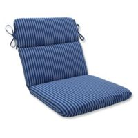 Pillow Perfect Resort Stripe Rounded Chair Cushion in Blue
