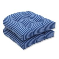 Pillow Perfect Resort Stripe Wicker Seat Cushions in Blue (Set of 2)