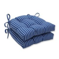 Pillow Perfect Resort Stripe Reversible Chair Pads in Blue (Set of 2)