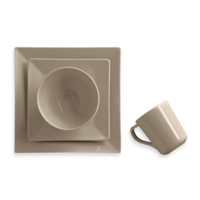 Real Simple® Square 4-Piece Place Setting in Taupe  sc 1 st  Bed Bath u0026 Beyond & Buy Oven Safe Stoneware Dinnerware Sets from Bed Bath u0026 Beyond
