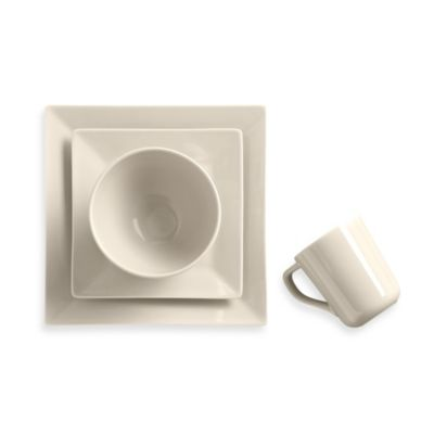 Real Simple® Square 4-Piece Place Setting in Ivory  sc 1 st  Bed Bath \u0026 Beyond : signature living dinnerware - pezcame.com