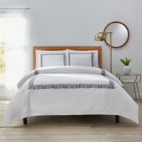 Dahlia King Duvet Cover Set in Navy