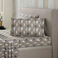 Ron Chereskin® Modernist Flannel Dog 200-Thread-Count Twin Sheet Set in Grey