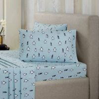 Ron Chereskin® Modernist Flannel Penguin 200-Thread-Count Twin Sheet Set in Blue