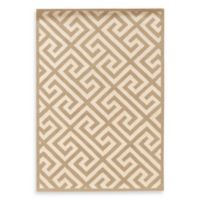 Linon Home Greek Key 1-Foot 10-Inch x 2-Foot 10-Inch Rug in Beige/White
