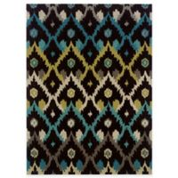Linon Home Trio Collection 5-Foot x 7-Foot Ikat Rug in Chocolate