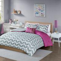 Intelligent Design Nadia 4-Piece Twin/Twin XL Comforter Set in Purple/Grey/White