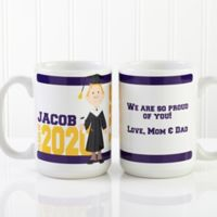 Graduation Character 15 oz. Coffee Mug in White
