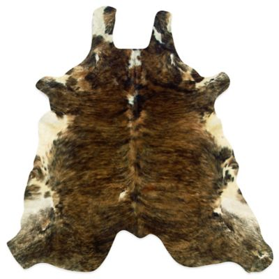 Linon Home Natural Cowhide 5 Foot X 8 Foot Rug In Medium Brindle