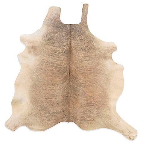 image of Linon Home Natural Cowhide 5-Foot x 8-Foot Rug in Beige/White