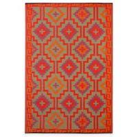 Fab Habitat Lhasa 4-Foot 11-Inch x 7-Foot 10-Inch Indoor/Outdoor Rug in Orange with Violet