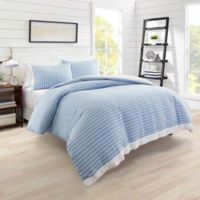 Poppy & Fritz Lexington Stripe King Duvet Cover Set in Blue