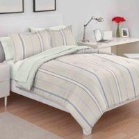 Utica Amy Stripe King Comforter Set in Blue/Yellow