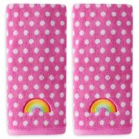 Rainbow Cloud Hand Towels in Pink (Set of 2)