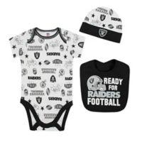NFL Raiders 3-Piece Size 3-6M Bodysuit Set