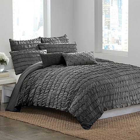 DKNY Ruffle Wave King Pillow Sham - Charcoal