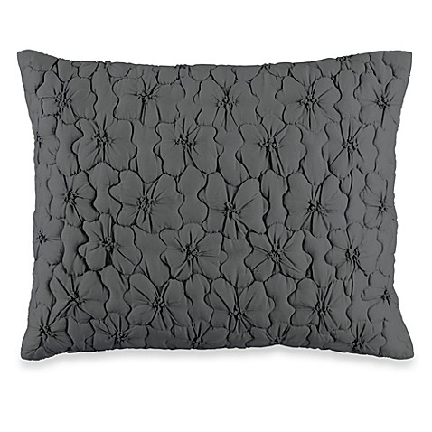 DKNY Ruffle Wave Petite Fleur Oblong Toss Pillow in Charcoal