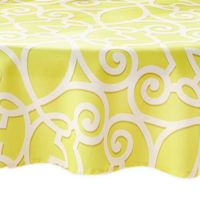 Elrene Chase 70-Inch Round Indoor/Outdoor Tablecloth in Lime with Umbrella Hole