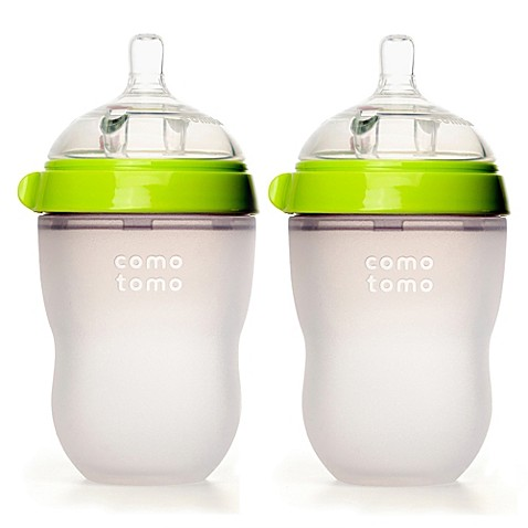 Comotomo 8 Ounce Baby Bottles In Green 2 Pack Buybuy Baby