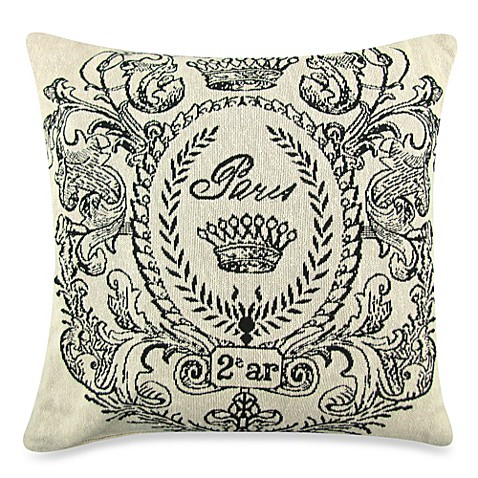 Vintage House Paris Postage 18-Inch Square Decorative Pillow in Natural/Black - Bed Bath & Beyond