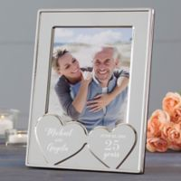 Anniversary Hearts Personalized Silver Picture Frame