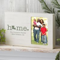 Home State Personalized Whitewashed Off-Set Frame
