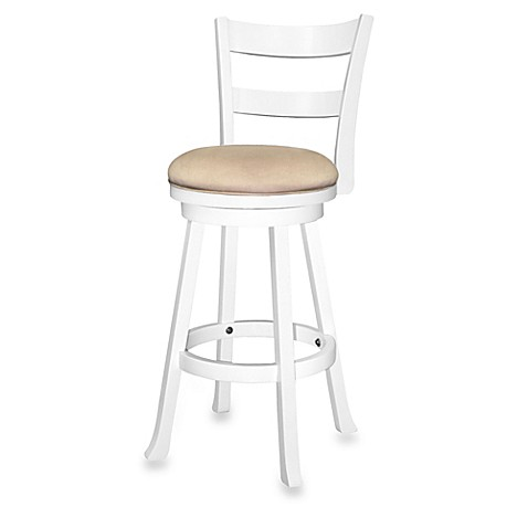 Sawyer 30 Inch Swivel Wood Bar Stool In White Bed Bath